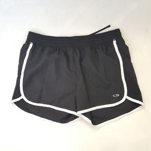Champion running shorts, black, size medium.